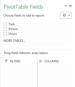 Excel Pivot Table fields