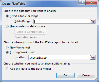 Excel Pivot Table wizard