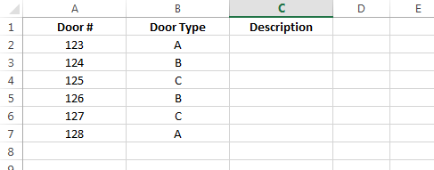 Excel door schedule data