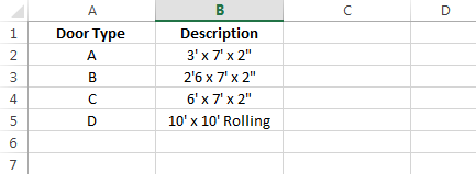 Excel door type data
