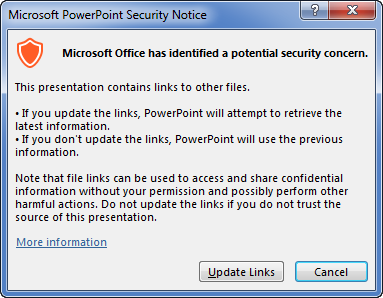 PowerPoint update links