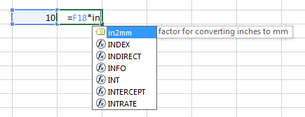 Excel - inserting name into formula