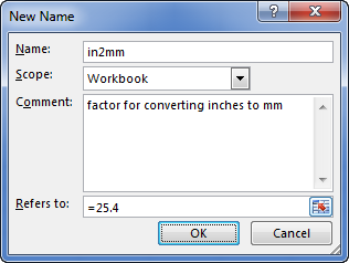 Excel - Create named constant