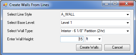 Walls from lines dialog