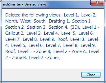 Delete views with this Revit Macro - views deleted