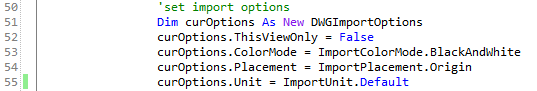 import options code