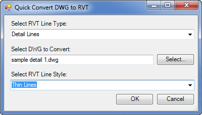 DWG to RVT PRO - quick dialog