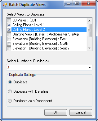 Batch duplicate views dialog