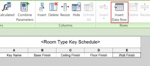 Revit - Key Schedule - Insert Data Row button