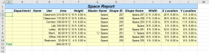 Excel space report