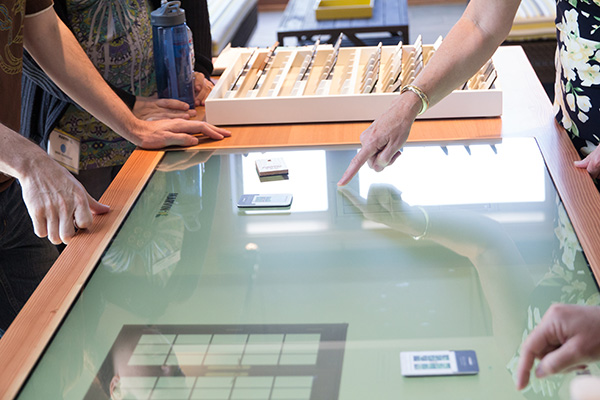 Interactive material board. Image Credit: AW Hastings